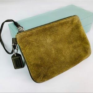 Coach Olive Green Leather Suede Wristlet Pouch